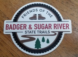 Friends of the Badger and Sugar River State Trails decals and badges