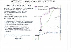 Detours around Stewart tunnel on Badger Trail